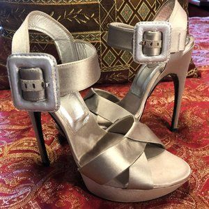 Silver Satin Roger Vivier Heels--Size 36 1/2